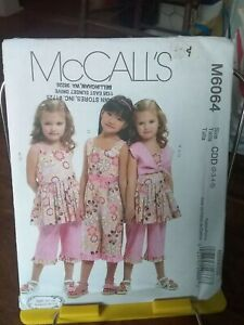 Oop-Mccalls-Ruffles-amp-Lace-6064-girls-summer-dress-cropped-pants-sz-2-5-NEW