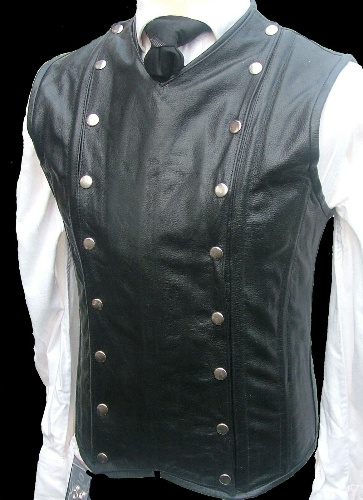 Mens  Real Leather Steel Boned STEAMPUNK Waistcoat Vest Corset GOTH  Victorian