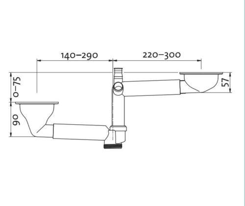 Doppel Siebkorbventil 3 1//2 Zoll Spülen Siebkorb Ausleger Teleskop erstellbar AB