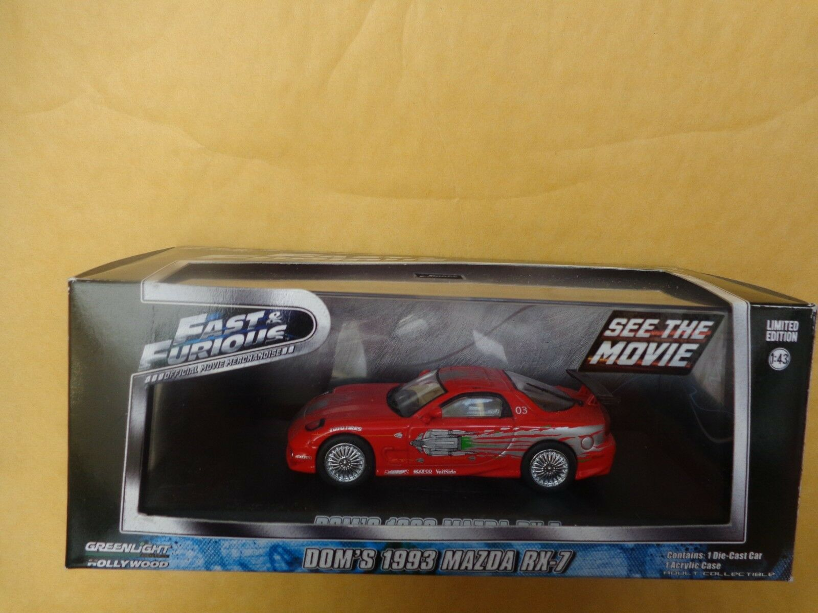 GREENLIGHT 1 43 - DOM'S 1993 MAZDA RX-7 FAST & FURIOUS DIECAST CAR 86204