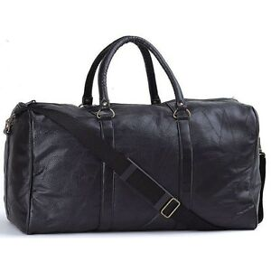 NEW-21-034-Black-Pebble-Grain-Leather-Duffle-Tote-Bag-Gym-Carry-On-Mens-Luggage