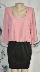 L8TER Dusty Rose Black Dress XL 3/4 Sleeves Elastic Blouson Waist Lined Bodice