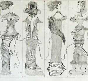 Ursula-LEFKES-1935-1996-TOP-Erotik-Radierung-1962-BUSENFREUNDINNEN-Nackte