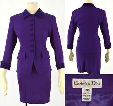 CHRISTIAN DIOR Gorgeous Purple Wool Crepe Velvet Trimmed Blazer Skirt Suit ~ 2P