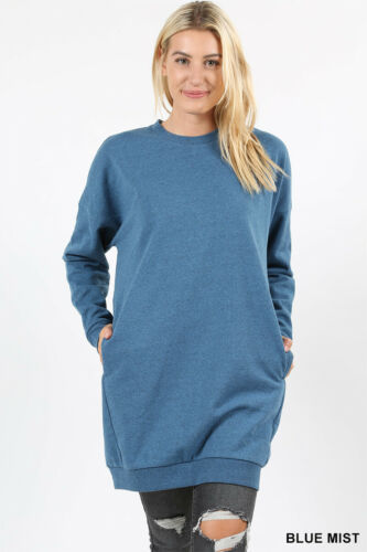 Women Oversized Loose Fit V-Neck Tunic Length Sweatshirts Casual Top