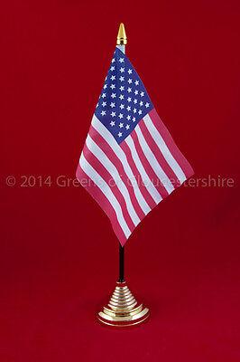 American Table Flag (United States) c/w Gold Coloured 1 Hole Base.