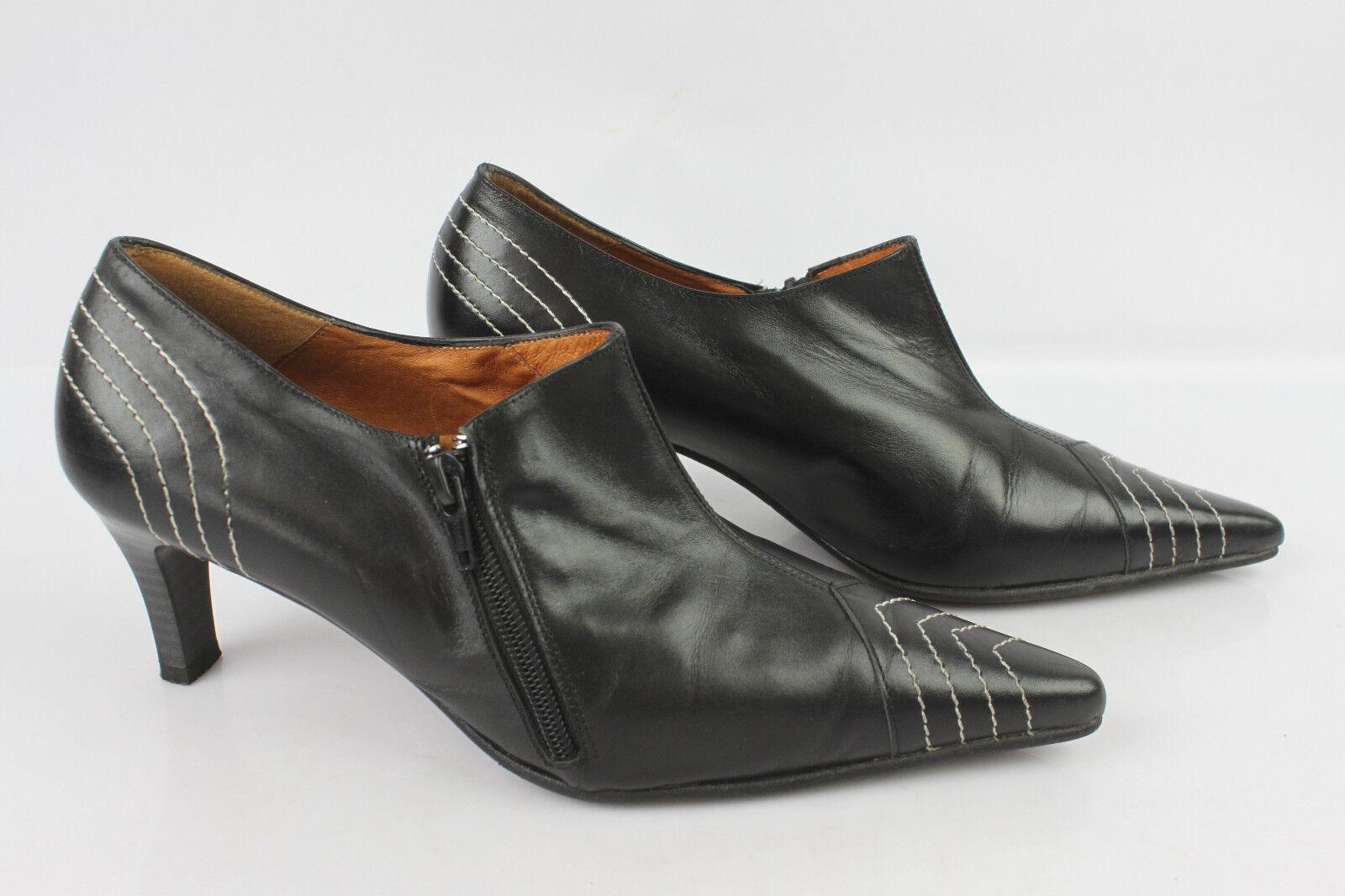 Escarpins Boots MARIA VASQUEZ Cuir Noir T 38 TBE