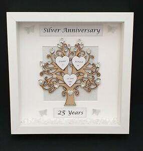 25th Wedding Anniversary Gifts.Details About Personalised 25th Silver Wedding Anniversary 3d Box Frame Anniversary Gift
