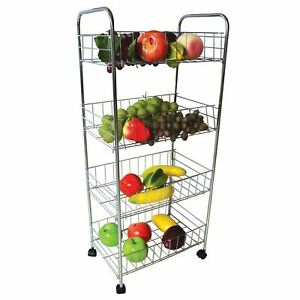 3-amp-4-Tier-Metal-Kitchen-Storage-Trolley-Vegetable-Fruit-Cart-Drawer-Rack-Wheels