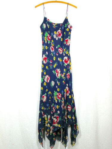 Vtg Y2K Ralph Lauren Silk Slip Dress Navy Bias Cut