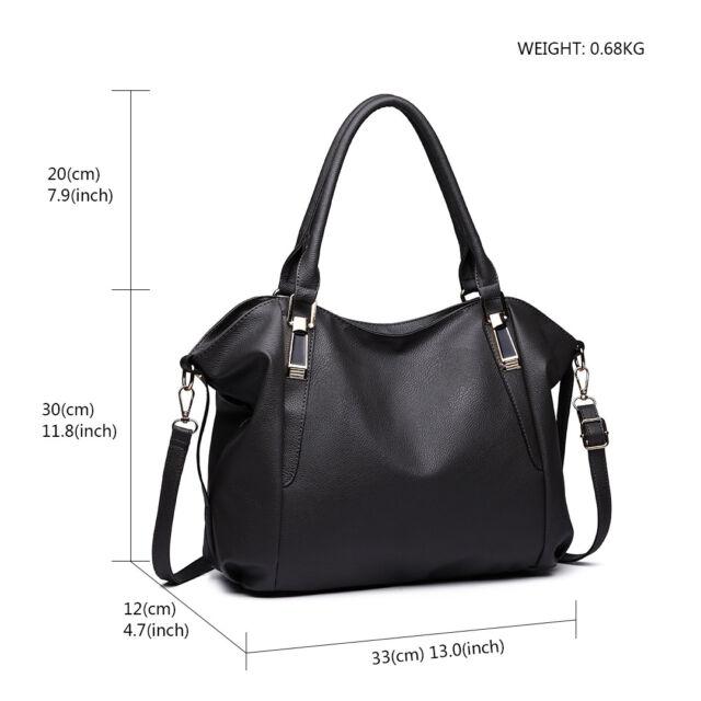 Women PU Leather DESIGNER Handbag Lady Shoulder Bag Structured Tote ... 00ca9feb06b88