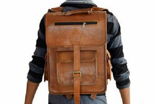 Briefcase Brown Vintage genuine leather old rustic Backpack Bag laptop Satchel