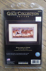 "Dimensions Gold Petites ""Stallions At Dusk"" Counted Cross Stitch Kit"