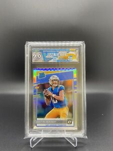 2020 Donruss Optic Justin Herbert Silver Holo Rated Rookie HGA 9 Chargers