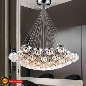 New modern chrome glass bubble led pendant light chandelier ceiling image is loading new modern chrome glass bubble led pendant light aloadofball Image collections