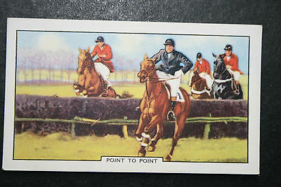 Point To Point  Horse Racing   Original 1930's Vintage Illustrated Card # VGC