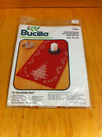 Bucilla Red Cross Stitch Candlewicking Table Runner Christmas Tree 82126