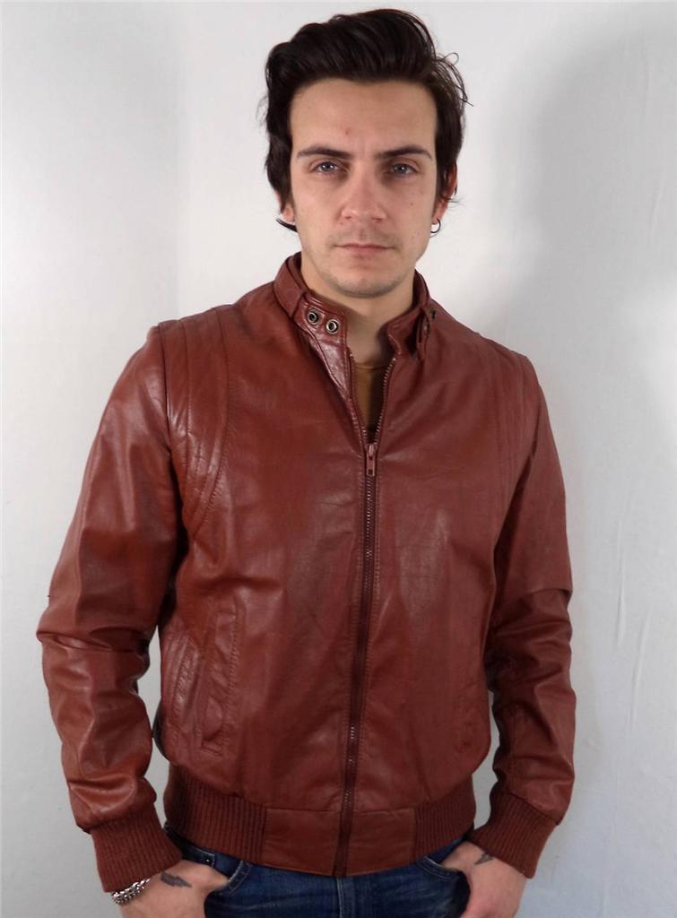 Vintage Para Hombre Clásico marrón de  cuero cabido Racer Chaqueta Biker M 40  buscando agente de ventas