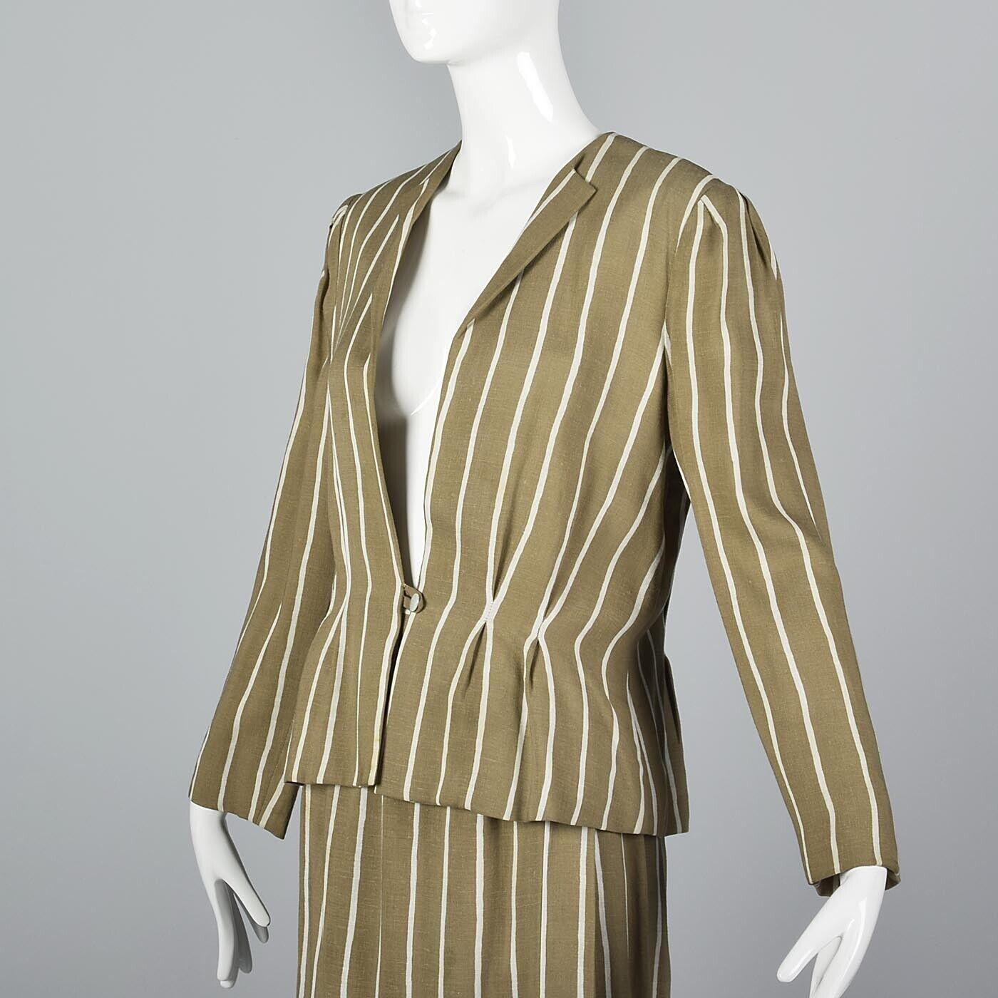 L Vintage 1980s 80s Pauline Trigere Striped Skirt… - image 6