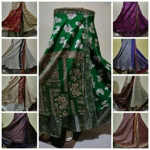 29566b64a4331 New Floral Long Skirt Wrap Around Rapron Satin Silk Ethnic Indian ...