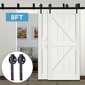 Details About New 8FT Bypass Sliding Barn Wood Double Doors Hardware Track  Kit Set Spoke Wheel