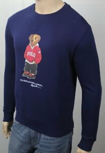 Polo Ralph Lauren Blue Preppy Teddy Bear Pullover Fleece Sweatshirt NWT