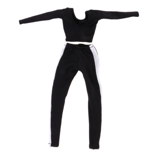 1//6 Black Yoga Crop Top /& Side Stripe Pants for 12/'/' HT//SS//PH Female Figures