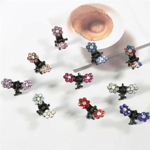 Lots 12 PCS Girls Sweet Rhinestone Crystal Flower Mini Hair Claws Clips Clamps S