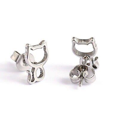Cute Hollowed Out Cat Stainless Steel Ear Stud Earrings.