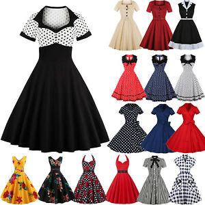 Plus-Size-Women-Retro-Vintage-50s-Rockabilly-Polka-Dot-Evening-Party-Swing-Dress
