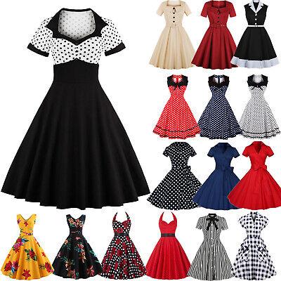 UK Women 50s Vintage Halter Rockabilly Evening Prom Swing Belted Dress Plus Size