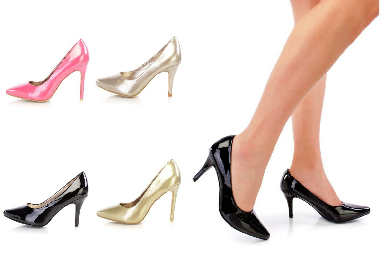 Lot Pointed Toe Pumps High Heels Faux Leather Patent Single Sole Faux Leather