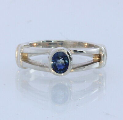 Natural Deep Blue Sapphire Handmade Sterling Silver Ladies Ring size 5.5  | eBay