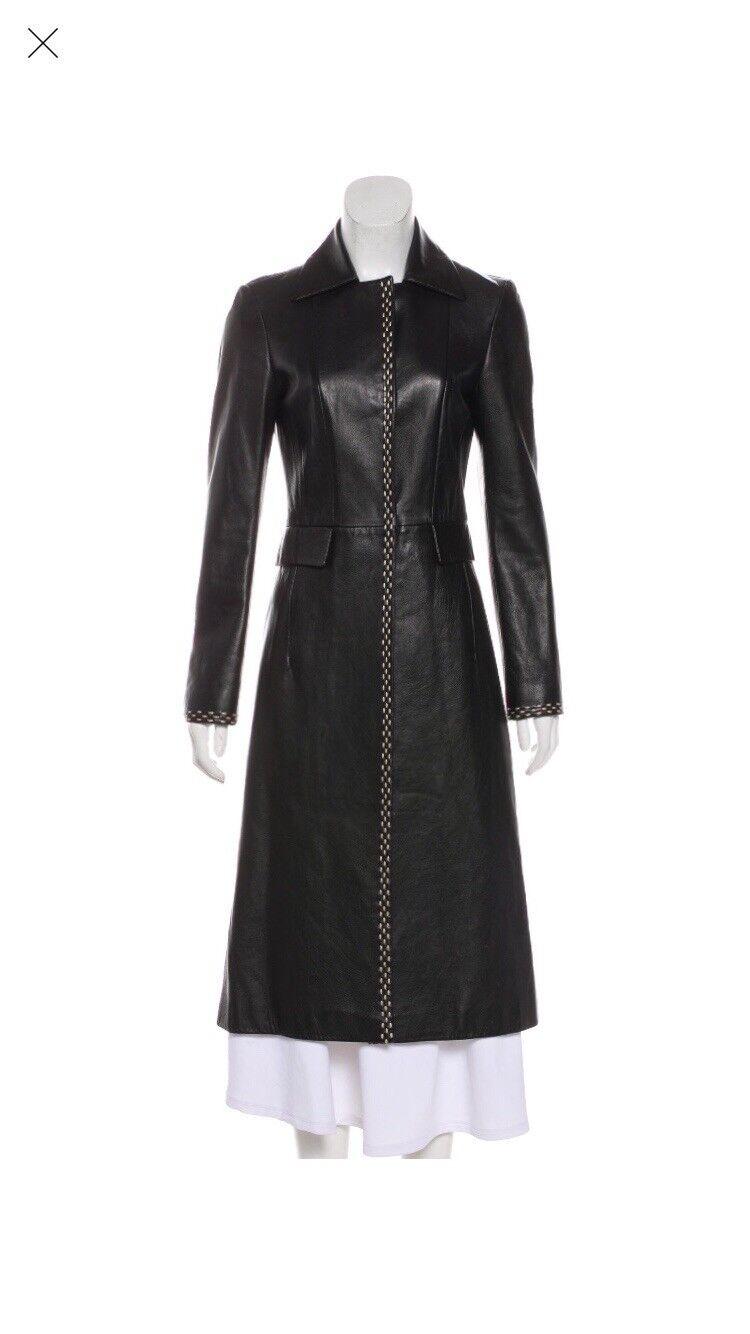 Alberta Ferretti Long Leather Trench Coat
