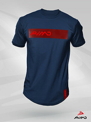 Pimd Deity Navy Blue And Red Tee - Fitness Workout Gym Longline T-shirt Mens