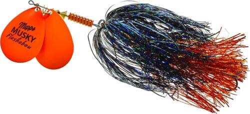 Nouveau MEPPS double lame Musky Flashabou 1 1//2 oz Hot Orange-BLK//ORANGE HO2-BO