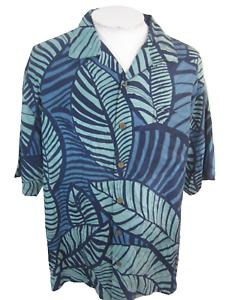 Tommy-Bahama-Men-Hawaiian-ALOHA-shirt-pit-to-pit-26-XL-blue-camp-luau-vintage