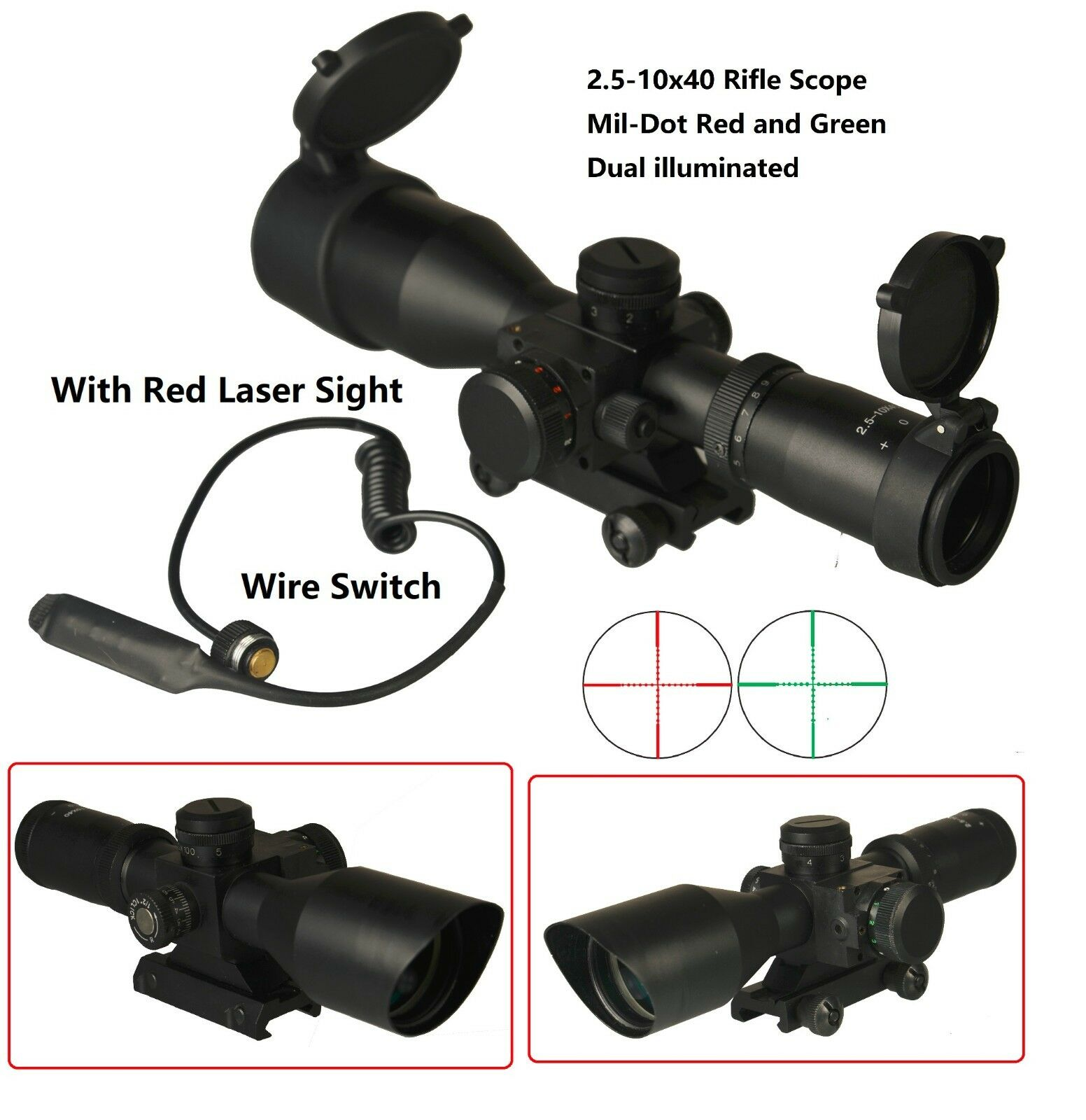 Tactical Compact 2.5-10x40 Scope Red and Green Iluminated, Red Laser Sight