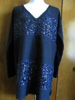 Free People Women's Navy Embellished Long Sweater Small Retail Value $168