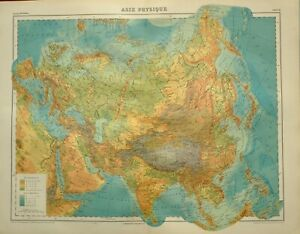 Details about 1923 MAP ~ PHYSICAL ASIA LAND HEIGHTS HIMALAYAS TIBET  MONGOLIA IRAN SIBERIA