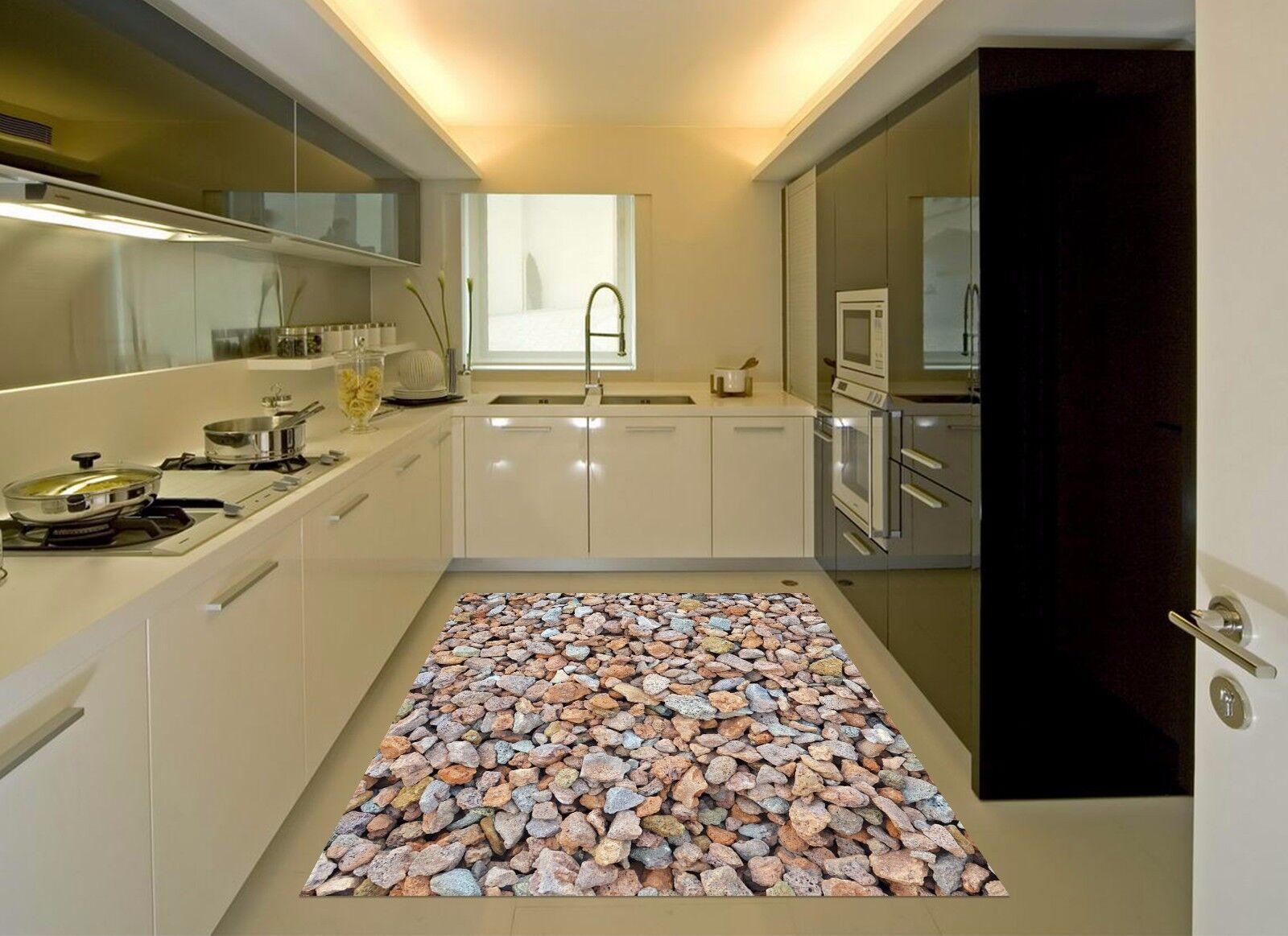 3D GRIGIO STONE 632 Cucina Tappetino Pavimento Murales Muro Carta ...