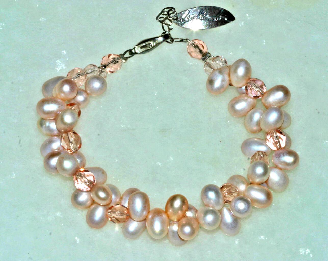 Leighton Lam Hawaiian Freshwater Pink Pearl w  Czech Fire Polish Beads Bracelet