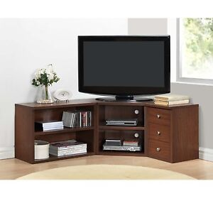 Image Is Loading Corner TV Stand Wood Flat Screen Entertainment Center