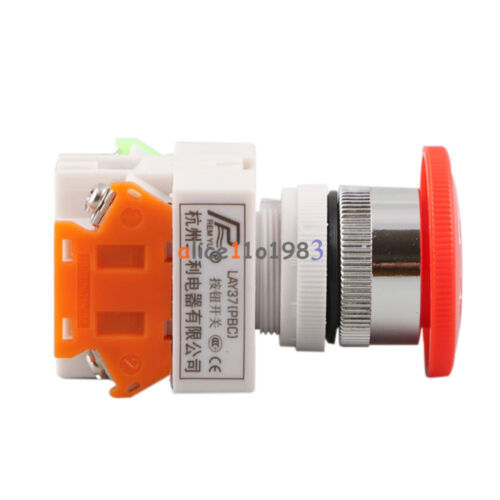 AC 660V 10A Red Mushroom Cap 1NO 1NC DPST Emergency Stop Push Button Switch