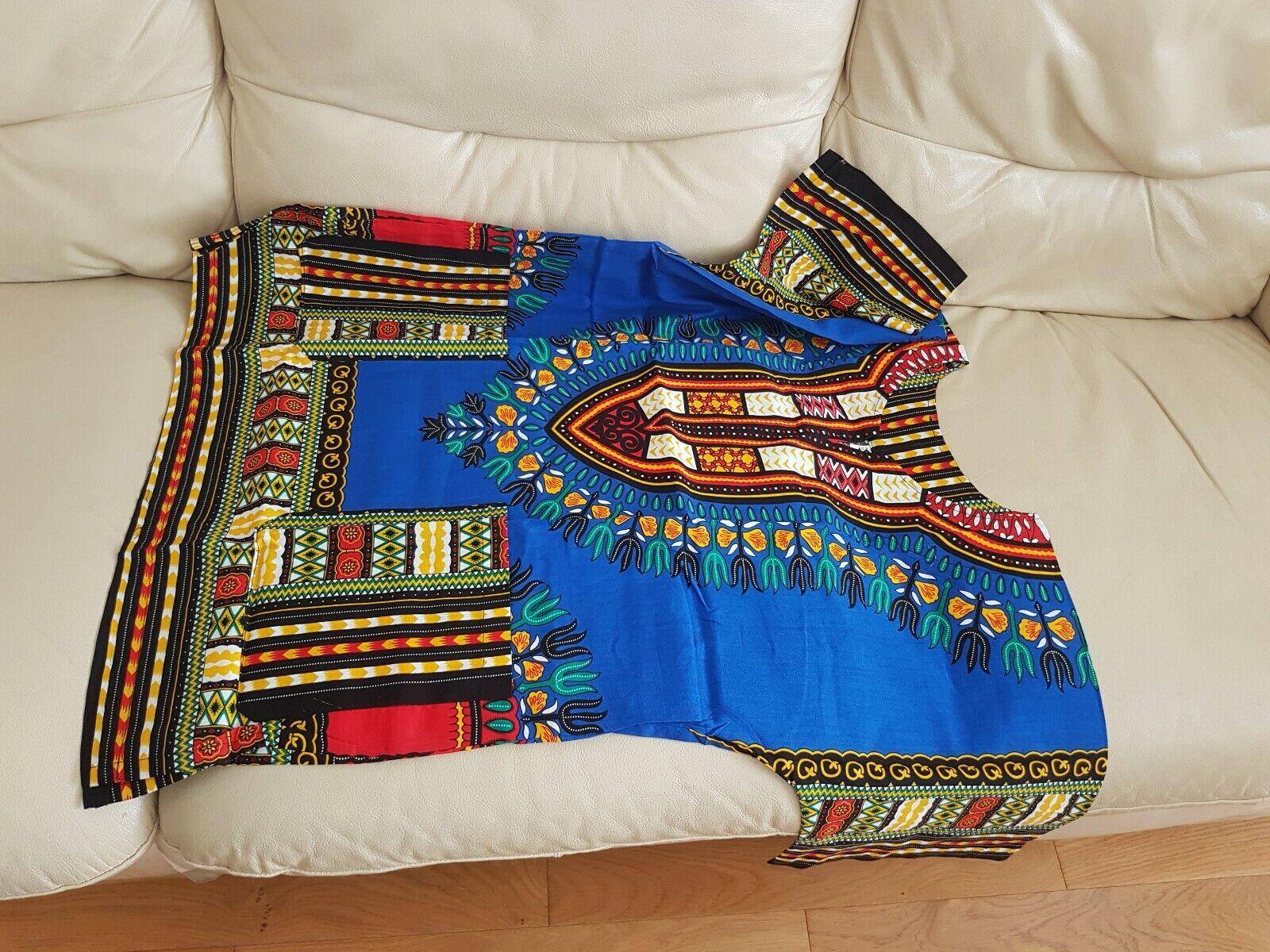Unisex Dashiki African Tribal Print Blouse or Kitenge Top Shirt Red Size S No.3