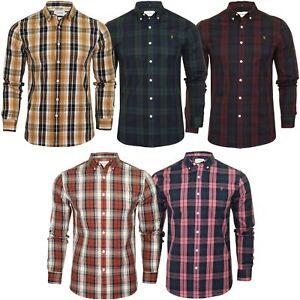 Farah-Mens-Check-Shirt-039-Brewer-Blackwatch-039-Long-Sleeved