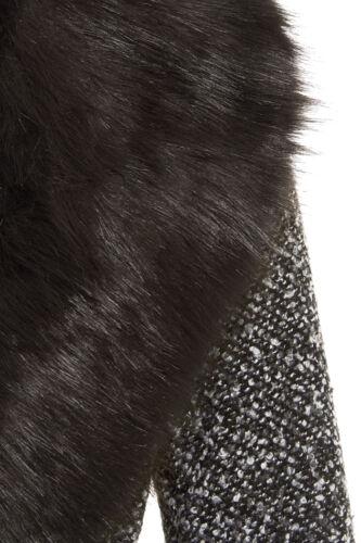 NEU Damen Wollmischung Winter Mantel abnehmbarer Pelzkragen Gürtel Jacke Größe 8