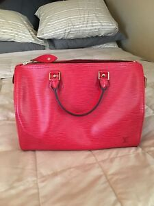 929ba1b7ee Auth LOUIS VUITTON Speedy 30 Rouge Red Epi Leather City Handbag ...