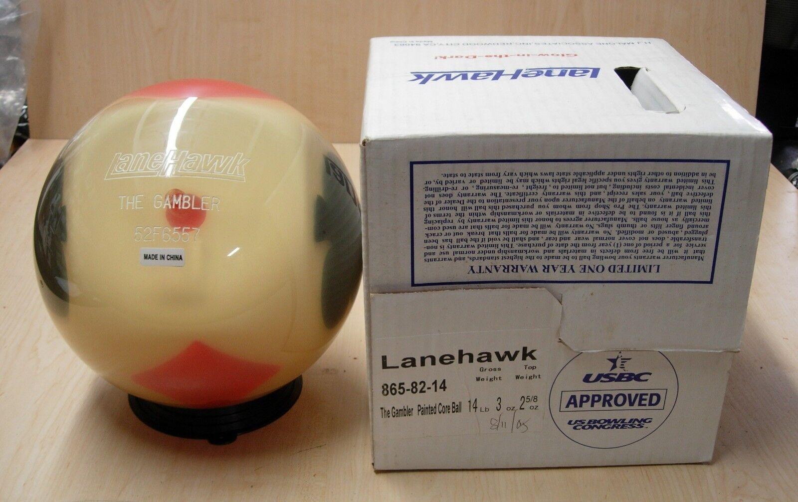 14oz TW 2-5 8 NIB Lanehawk GAMBLER Clear Bowling Ball Undrilled golden Yellow