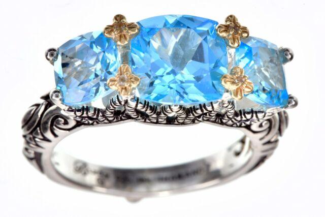 Barbara Bixby Blue Topaz Gemstone 18K/Sterling Silver Ring Size 6